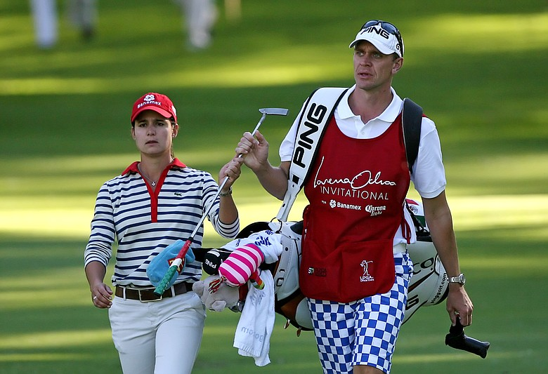 Lorena Ochoa fired her caddie Dave Brooker June 22 after three years together. The pair is seen here during the first round of the Lorena Ochoa Invitational on Nov. 13, 2008.