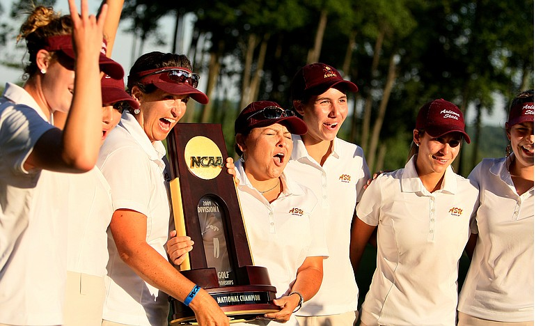 The Arizona State Sun Devils celebrate winning the 2009 NCAA Women's Golf Championships at Caves Valley Golf Club in Owings Mills, Md.