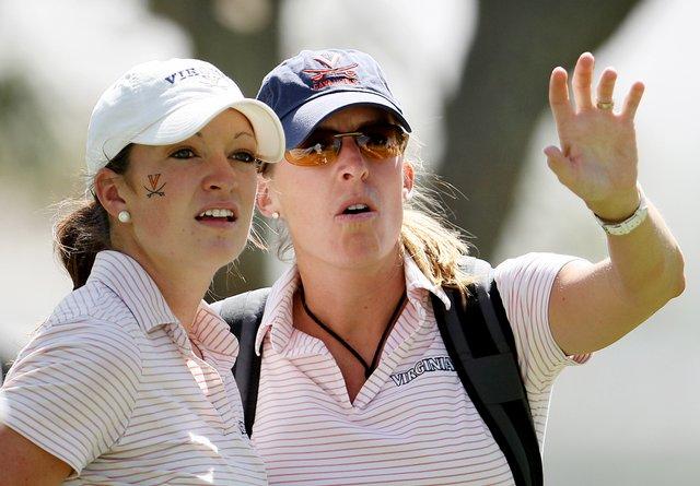Virginia's Jennie Arseneault and head coach Kim Lewellen during round 2 of the 2008 NCAA Div. 1 Women's Championship.