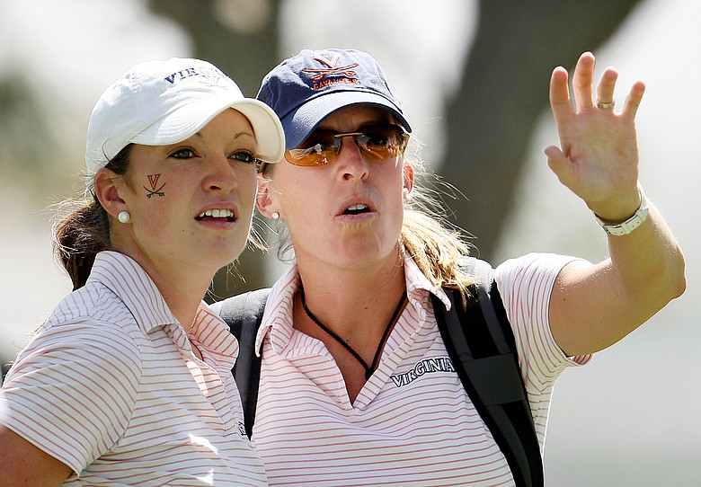 Virginia's Jennie Arseneault and head coach Kim Lewellen during round 2 of the 2008 NCAA Div. 1 Women's Championship.