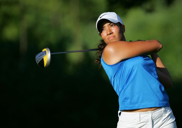 Cheyenne Woods tees off during the second round of the Wegmans LPGA at Locust Hill Country Club.