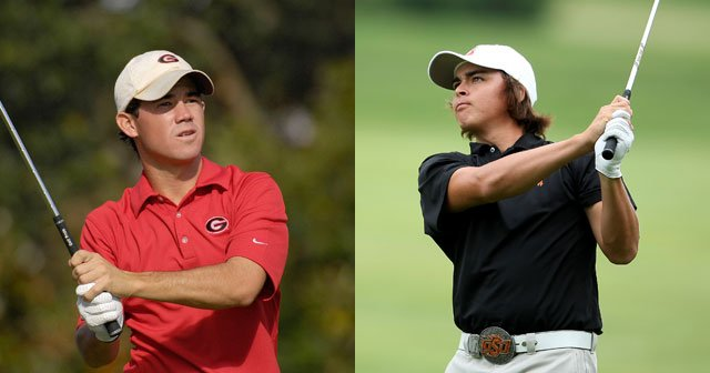 Led by Brian Harman (left) and Rickie Fowler (right), Georgia and Oklahoma State are tied for the lead after the first round of the NCAA Championships.
