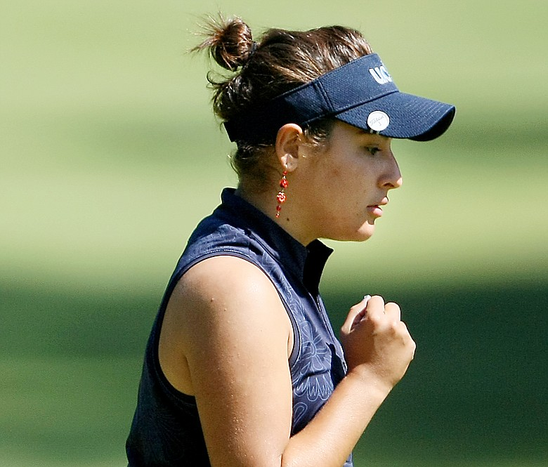 UCLA's Maria Jose Uribe pumps her first at No. 1 during the 2009 NCAA Women's Golf Championships at Caves Valley Golf Club in Owings Mills, Md.