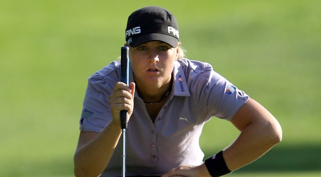 Anna Nordqvist of Sweden lines up her birdie putt on the 16th hole during the final round of the McDonald's LPGA Championship.