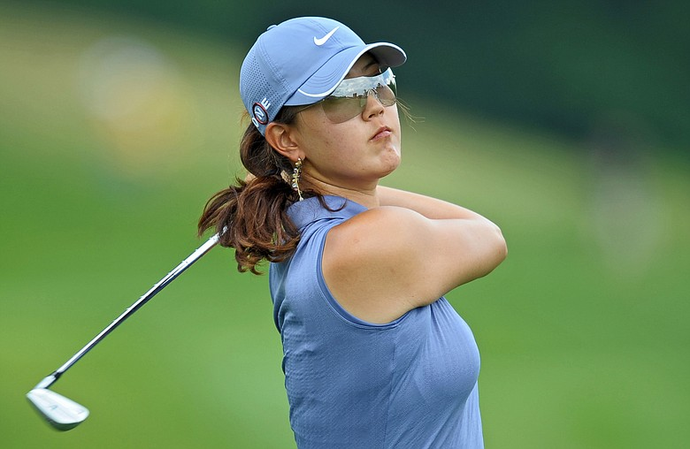 Michelle Wie hits her second shot on the 18th hole during the second round of the McDonald's LPGA Championship.