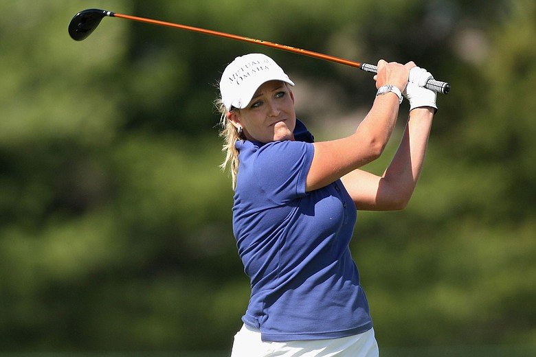 Cristie Kerr hits a tee shot on the 17th hole during the third round of the LPGA State Farm Classic.