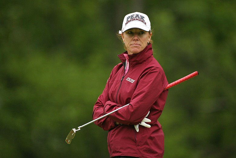 Helen Alfredsson of Sweden stands on the 5th green during the first round of the Sybase Classic.
