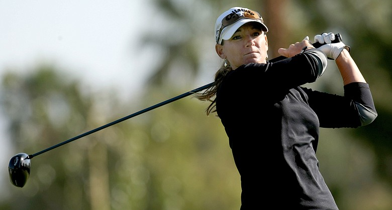 Kristy McPherson hits her tee shot on the 11th hole during the second round of the Kraft Nabisco Championship.