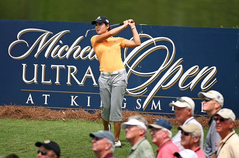 Lorena Ochoa of Mexico hits her tee shot on the 13th hole during the second round of the Michelob Ultra Open.