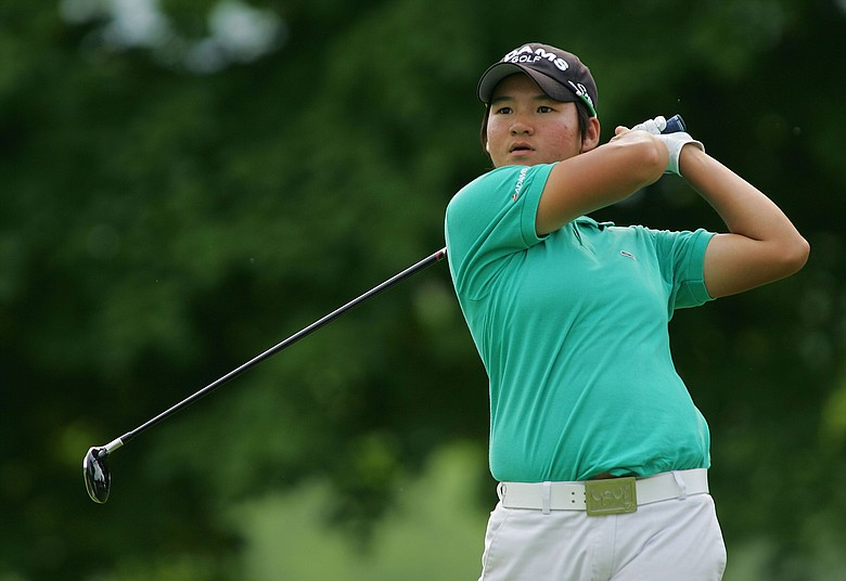 Yani Tseng of Taiwan watches her drive on the 18th tee during the fourth round of the LPGA Corning Classic.