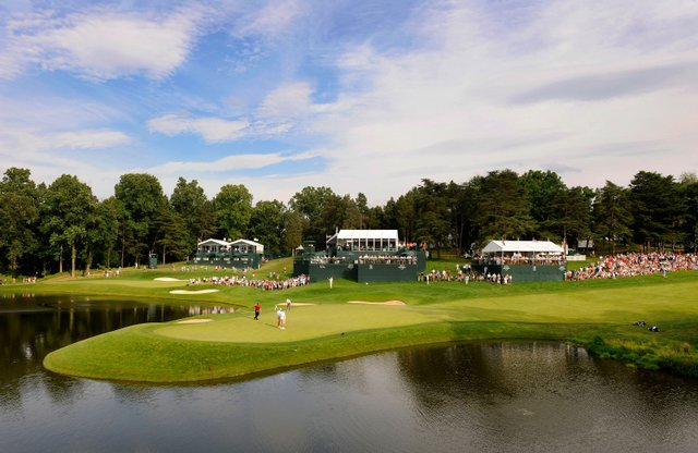 A course scenic of the 18th green, a Kodak Challenge hole during the third round of the AT&T National at Congressional Country Club.
