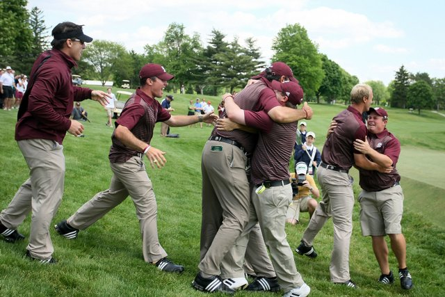 Texas A&M celebrates after winning the 2009 NCAA Golf Championships at Inverness Club.