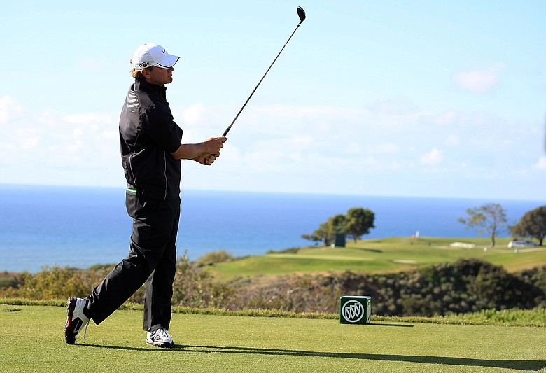 Lucas Glover hits a tee shot during the final round of the 2009 Buick Invitational on the South Course at Torrey Pines.