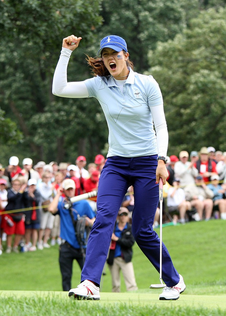 Michelle Wie celebrates during Day 1 of the Solheim Cup.