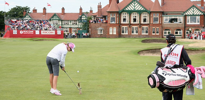 Paula Creamer hits her second shot on the 18th hole during the second round of the 2009 Ricoh Women's British Open Championship held at Royal Lytham St Annes Golf Club.