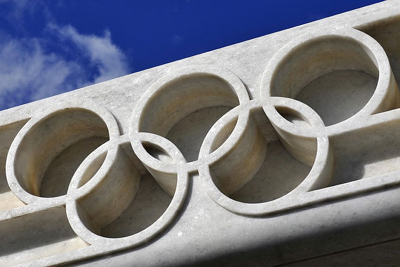 The Olympic rings are seen on June 16, 2009 at the entrance of the International Olympic Committee (IOC) headquarters in Lausanne, Switzerland.