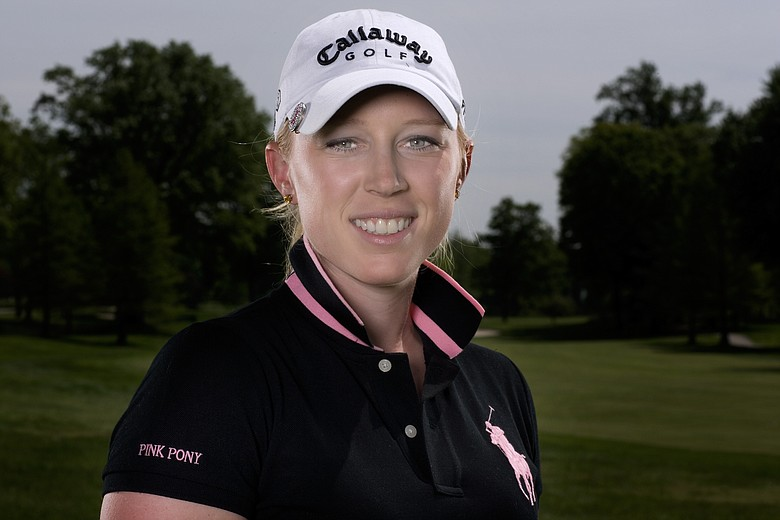 Morgan Pressel poses for a portrait in a Pink Pony Ralph Lauren polo.