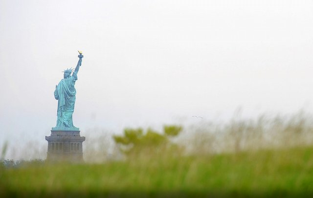 The view of the Statue of Liberty from Liberty National Golf Club.