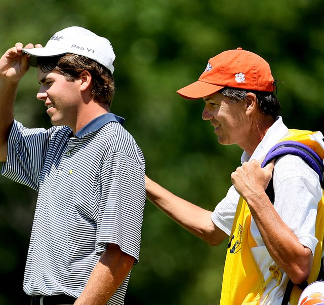 Ben Martin with his father/caddie Jim, after they won their quarterfinal match Friday at the U.S. Amateur.