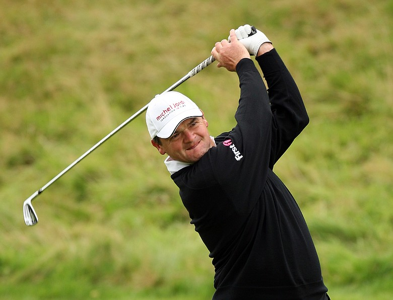 Paul Lawrie hits a shot at the Johnnie Walker Championship.