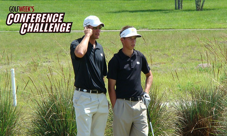 Iowa coach Mark Hankins and junior Vince India confer about a shot. The Hawkeyes are one of 15 teams playing this week in Golfweek's Conference Challenge at Blue Top Ridge in Riverside, Iowa.