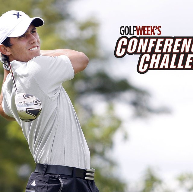 Xavier sophomore Sebastian MacLean shot 4-under 68 Sunday and is tied for the lead at Golfweek&#39;s Conference Challenge.