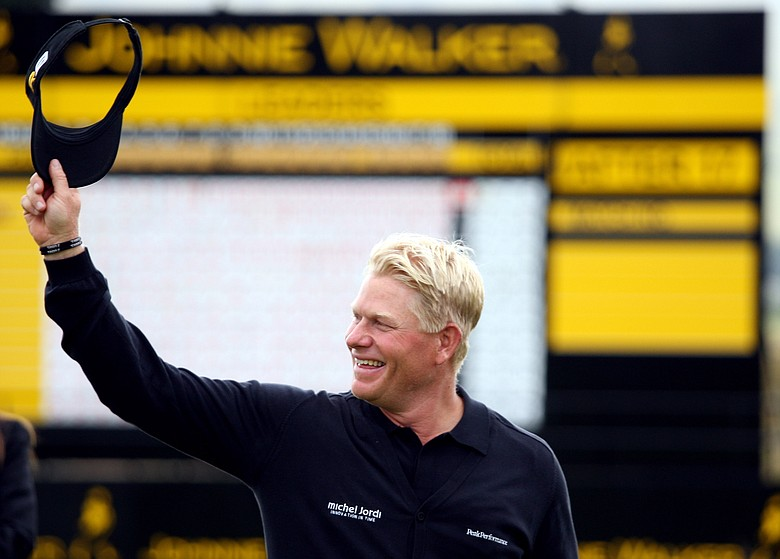 Peter Hedblom reacts after winning the Johnnie Walker Championship.