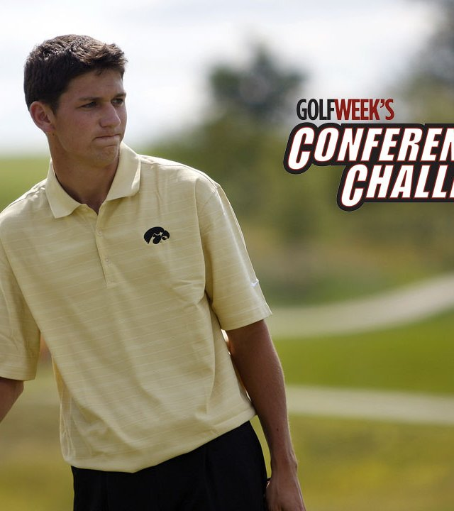 Brad Hopfinger shot a course-record 5-under 67 at Blue Top Ridge Aug. 31 to take the second-round lead at Golfweek's Conference Challenge.