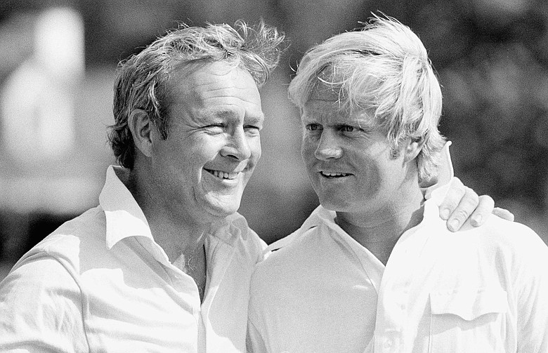 Arnold Palmer and Jack Nicklaus at Augusta National in 1973.
