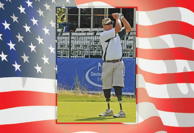 Staff Sgt. Dale Beatty tees off at TPC Boston Thursday for the Deutsche Bank Championship pro-am.