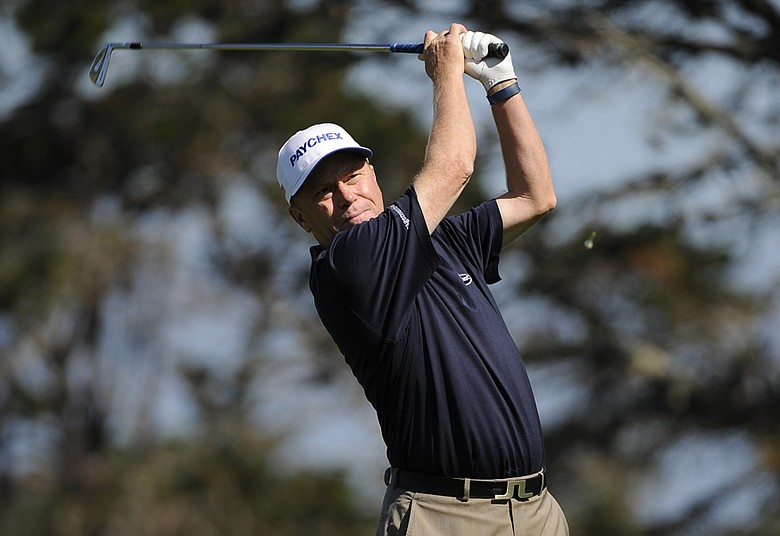Jeff Sluman tees off on the 11th hole during the first round of the Walmart First Tee Open at Pebble Beach held at Del Monte Golf Club in Monterey, California.