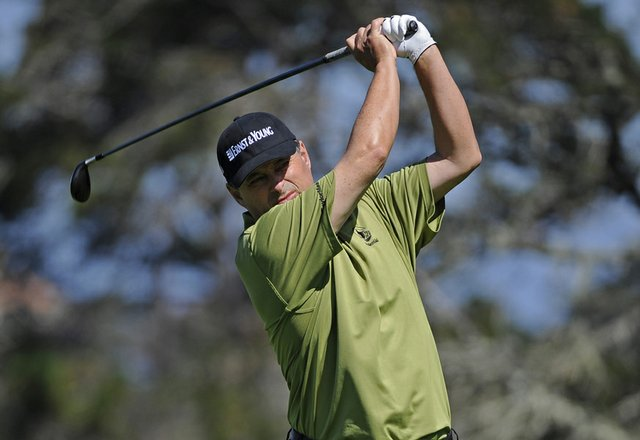 Loren Roberts tees off on hole No. 2 during the Walmart First Tee Open at Pebble Beach.