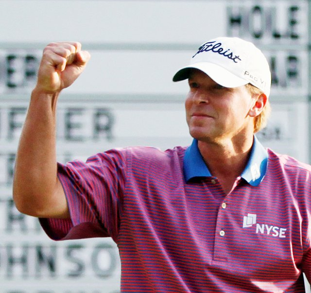 Steve Stricker celebrates after a birdie on the 18th hole at TPC Boston gave him a victory at the Deutsche Bank Championship.
