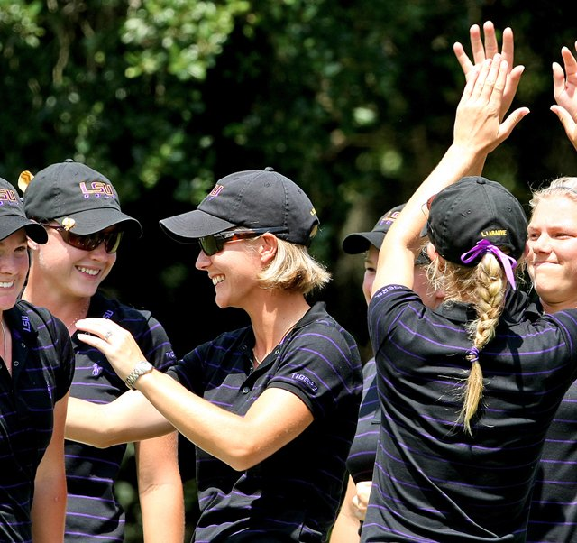 LSU celebrates its victory Tuesday at the Hooters Match Play Championship.