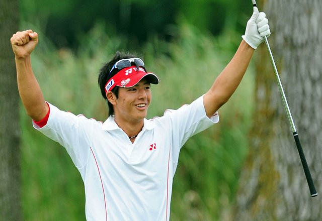 Ryo Ishikawa celebrates after holing out for birdie on the 16th hole at Hazeltine during the final round of the 2009 PGA Championship.