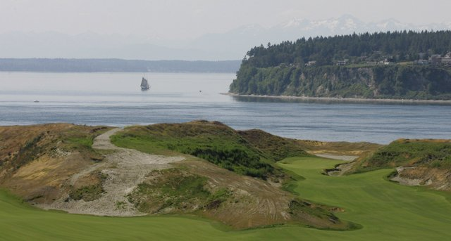 The narrow fairway leading to the 10th hole at Chambers Bay Golf Course.