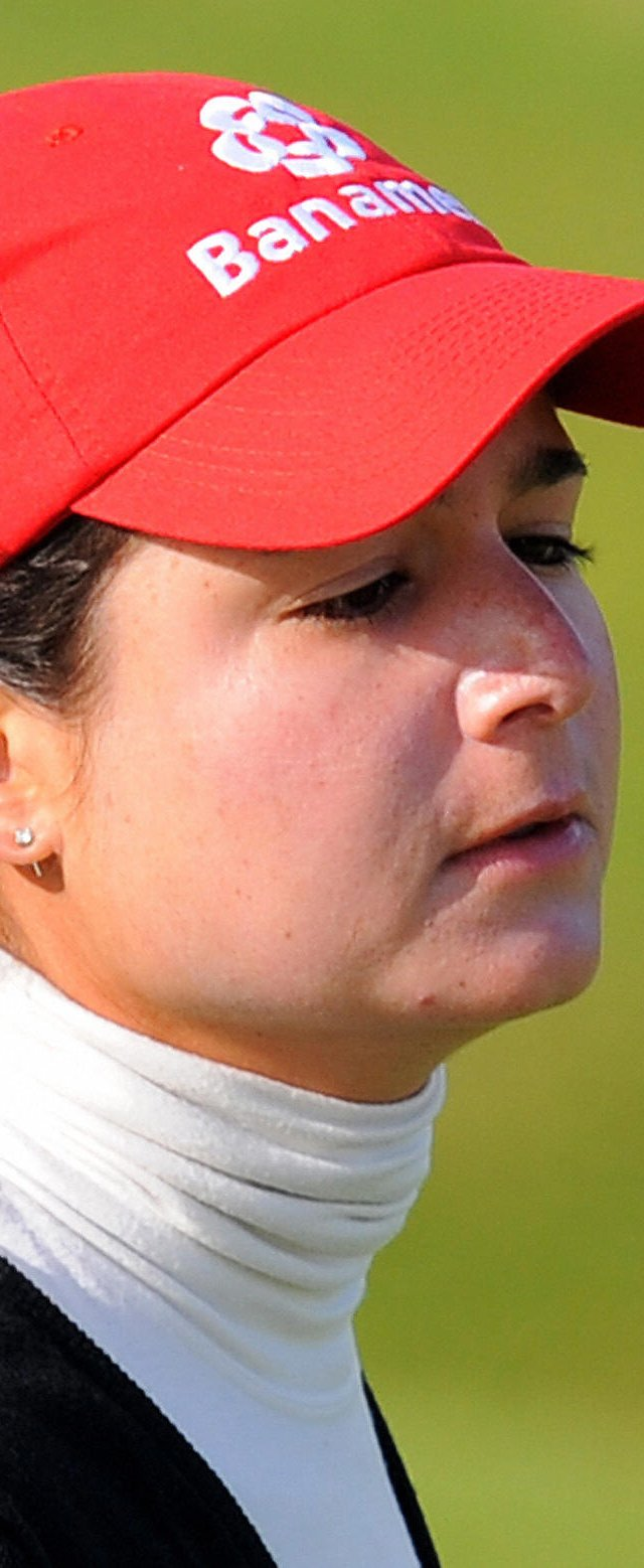 Lorena Ochoa of Mexico eyes the ball after putting on the third green during the first round of the Ricoh Women&#39;s British Open at Royal Lytham and St Annes golf course in Lytham St Annes, England on July 30, 2009.