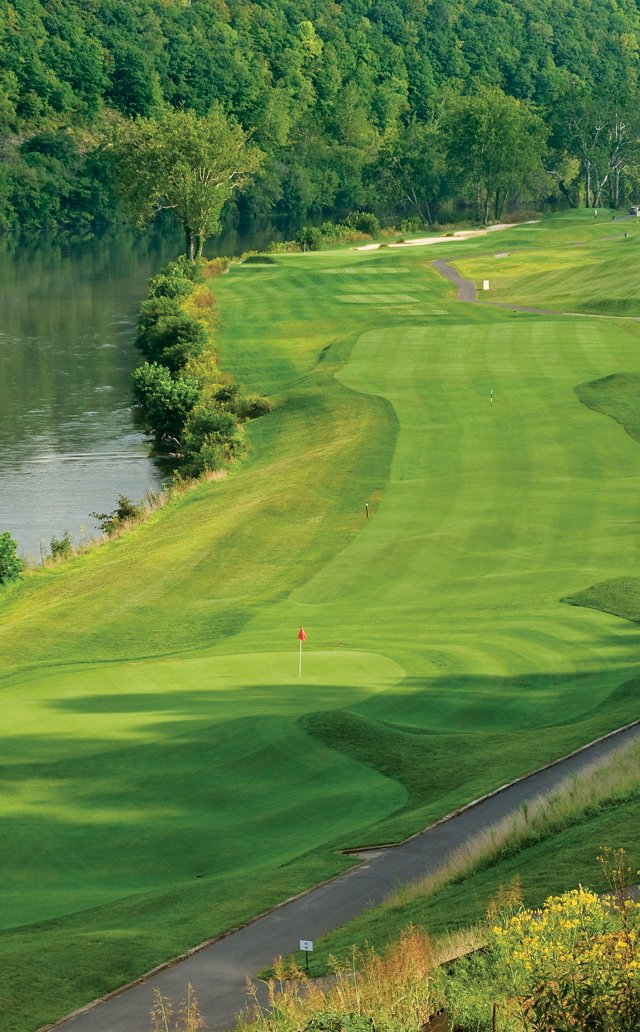 The 18th hole at the Pete Dye River Course of Virginia Tech in Radford, Va.