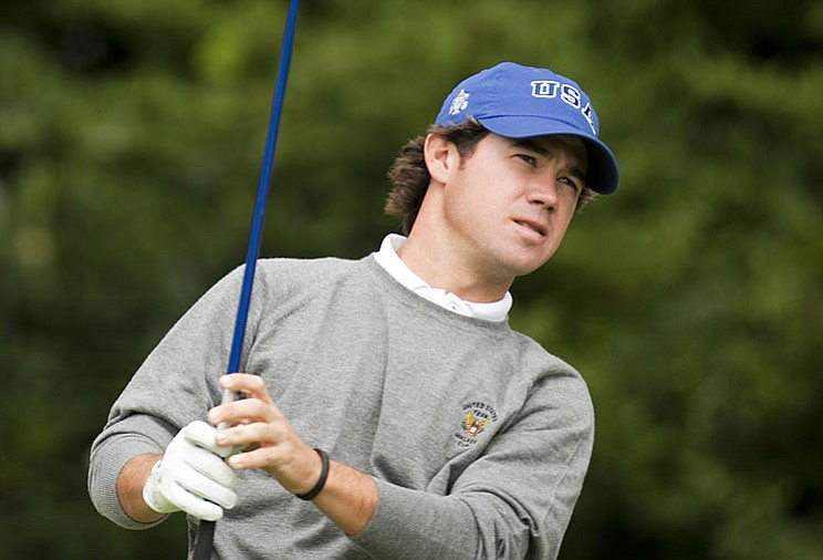 Brian Harman hits a shot during a practice round at Merion Golf Club at the Walker Cup.