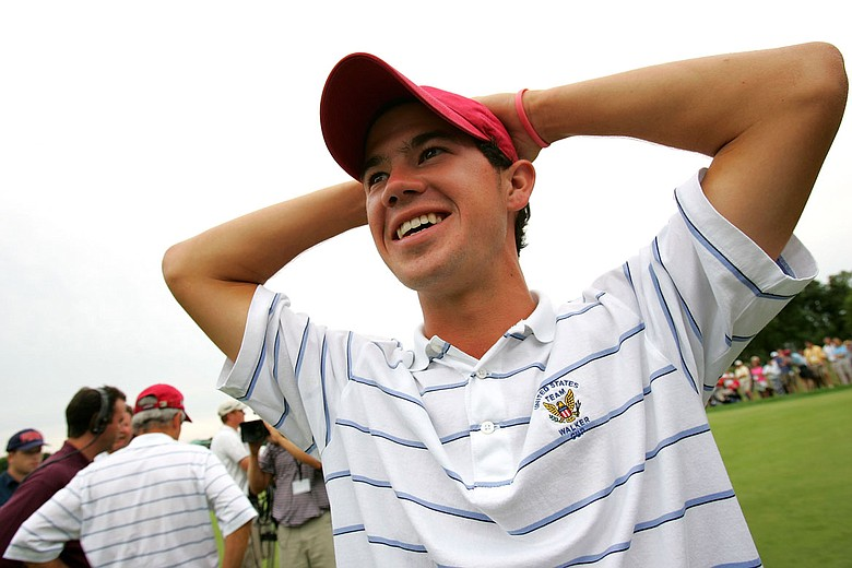 Brian Harman celebrates the United States' victory at the 2005 Walker Cup.