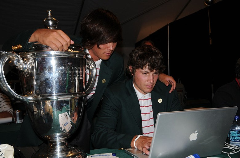 Rickie Fowler (left) and Peter Uihlein chat with Golfweek.com users following their victory at the 42nd Walker Cup.