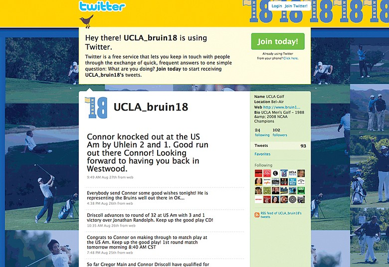 UCLA men's golf uses Twitter to give users an inside look at the program.