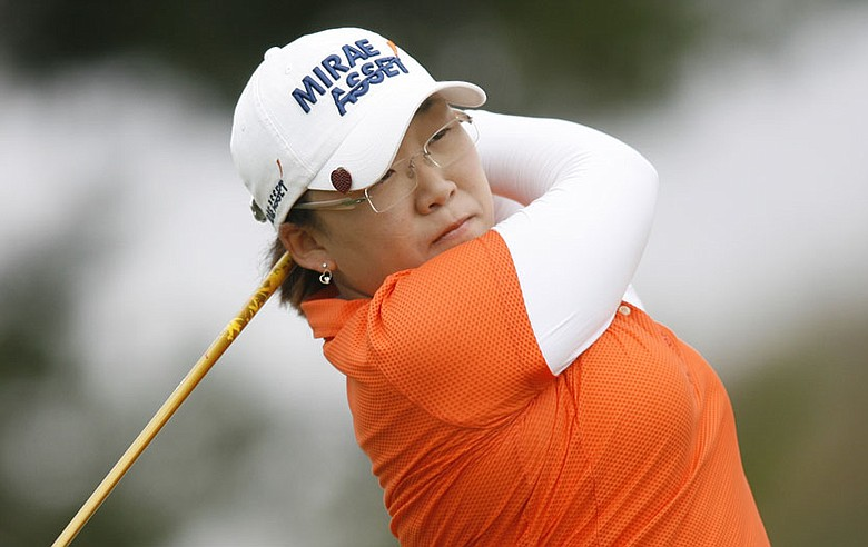 Jiyai Shin hits her tee shot on the fifth hole during the first round of the Samsung World Championship.