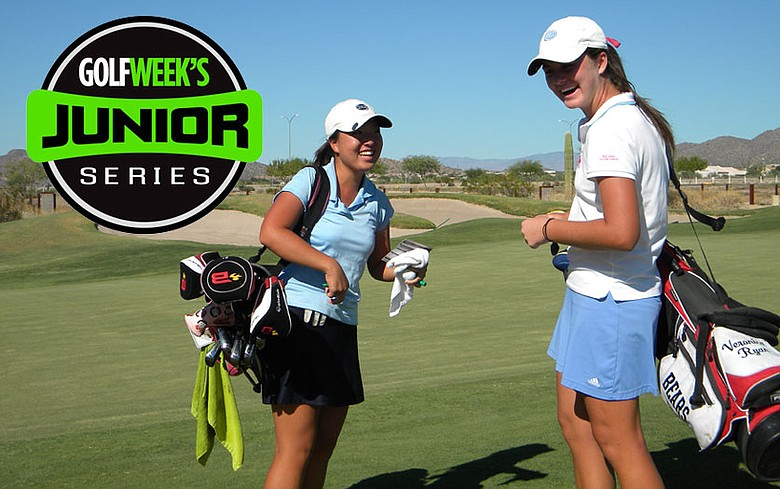 Veronica Ryan (right) and Sara Handa during the first round of the Golfweek Junior Series event at Longbow.