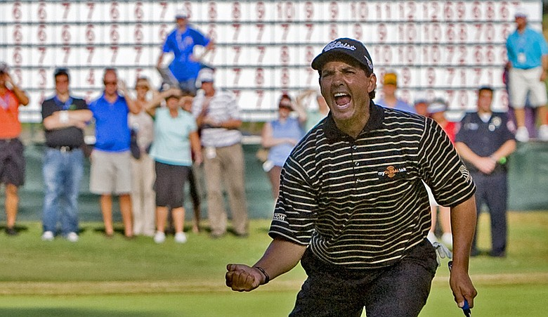 Tom Pernice Jr. celebrates as he sinks a birdie putt on the 18th hole to win the SAS Championship.