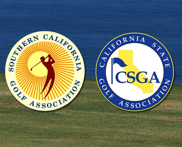 Respective logos of the Southern California Golf Association and California State Golf Association.