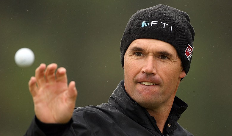 Padraig Harrington catches a ball during a practice round at the Alfred Dunhill Links Championship.