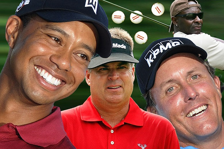 "Starring in this week's ""Hate to be Rude"" – Tiger, Phil, Kenny Perry,  Jerry Rice and ratty range balls."