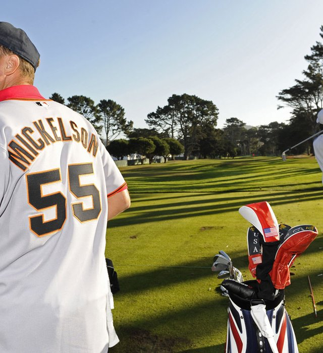Jim 'Bones' Mckay, caddie of Phil Mickelson, wears a San Francisco Giants jersey on the range during practice for The Presidents Cup.