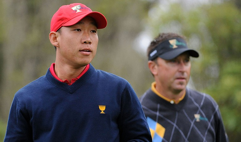 Anthony Kim and Robert Allenby look down the third fairway Oct. 11 during the Sunday singles matches at Harding Park.